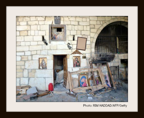 destroyed religious art-with frame